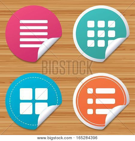 Round stickers or website banners. List menu icons. Content view options symbols. Thumbnails grid or Gallery view. Circle badges with bended corner. Vector
