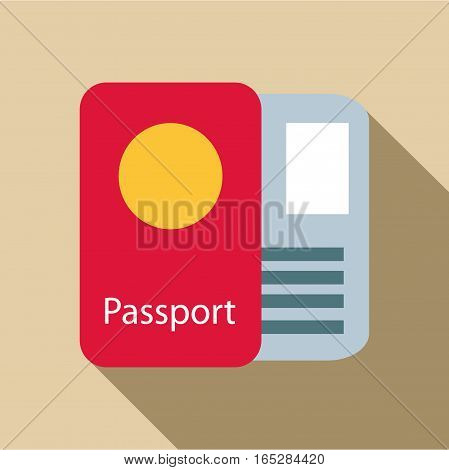 Passport icon. Flat illustration of passport vector icon for web