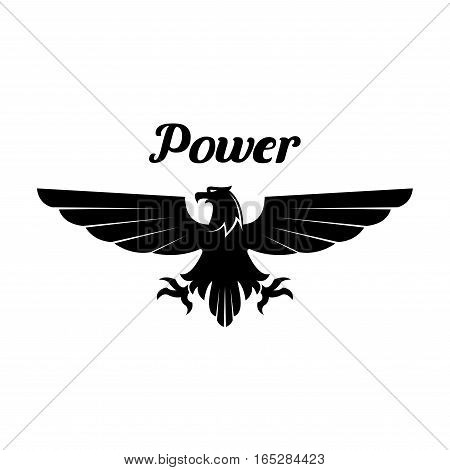 Black eagle emblem. Heraldic gothic vulture or falcon isolated vector icon of sign with open spread wings and sharp clutches. Gothic predatory bird symbol for sport team mascot, shield emblem, army, military or security coat of arms