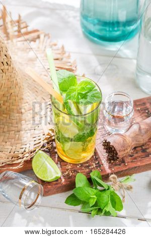 Sweet And Fresh Mohito With Fruits And Mint