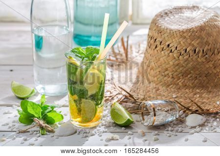 Fresh And Sweet-sour Drink With Citrus And Mint