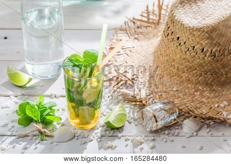 Drink With Lime, Lemon And Sugar In Summer