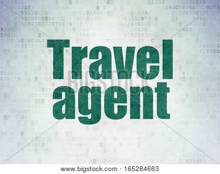 Vacation concept: Painted green word Travel Agent on Digital Data Paper background