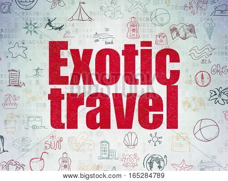 Travel concept: Painted red text Exotic Travel on Digital Data Paper background with   Hand Drawn Vacation Icons