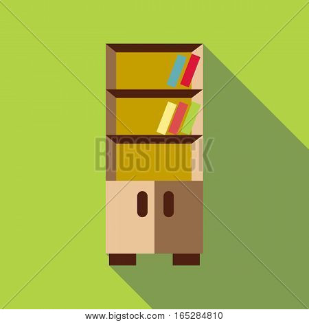 Bookcase icon. Flat illustration of bookcase vector icon for web