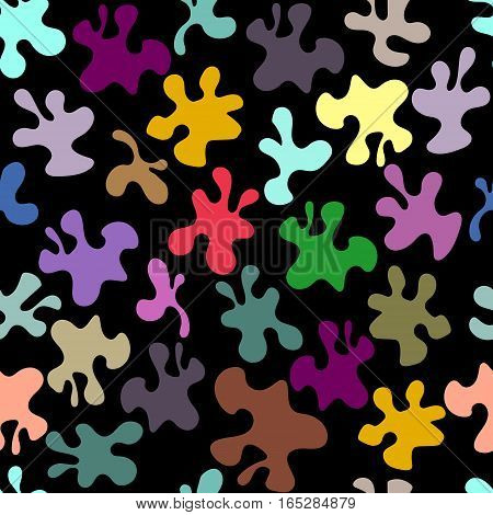 seamless pattern, multi-colored blots on a black background, vector illustration