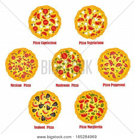 Pizza vector icons set of capricciosa, vegetariana with vegetables, mexicana with pepperoni, chili pepper jalapeno and mushrooms, seafood and margherita. Vector isolated emblems set for pizzeria or fast food restaurant menu, takeaway and delivery