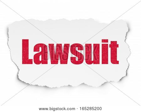 Law concept: Painted red text Lawsuit on Torn Paper background with  Tag Cloud