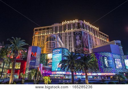 LAS VEGAS - NOV 08 : The Planet Hollywood casino in Las Vegas on November 08 2016. Planet Hollywood has over 2500 rooms available and it located on Las Vegas Boulevard.