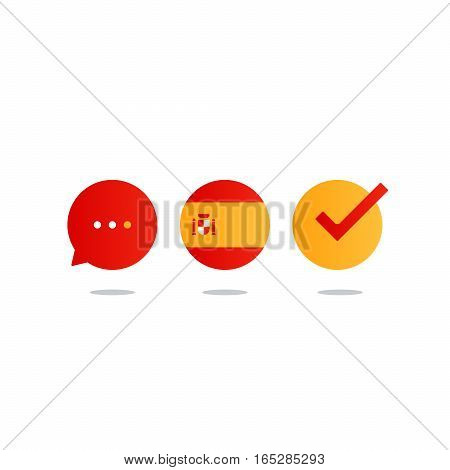 Spanish lenguage icons and logo. linguistics class concept. Flat design vector illustration