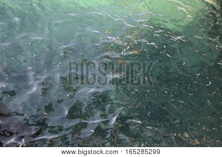 surface of sea water, the glare on the water background with water texture poster