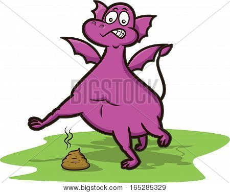 Dragon Avoiding Poop Cartoon Character. Vector Illustration.