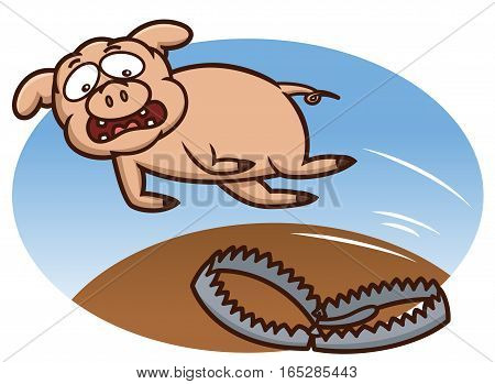 Pig Jumping to Avoid Trap Cartoon Illustration