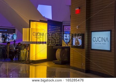 LAS VEGAS - NOV 08 : The Wolfgang Puck Cucina restaurant in Las Vegas on November 08 2016. In 2013 Wolfgang Puck was inducted into the Culinary Hall of Fame.