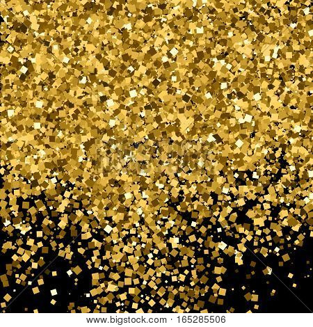 Gold glitter texture . Amber particles color. Celebratory background. Golden explosion of confetti. Vector illustration,eps 10.