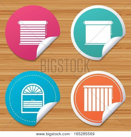 Round stickers or website banners. Louvers icons. Plisse, rolls, vertical and horizontal. Window blinds or jalousie symbols. Circle badges with bended corner. Vector