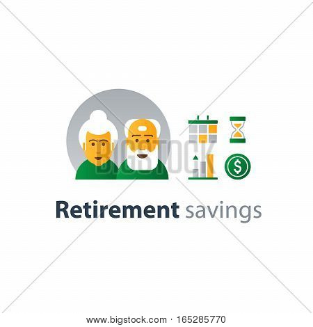 Pension and retirement future financial investment and payment, pension fund, superannuation for elderly people. Flat design vector illustration
