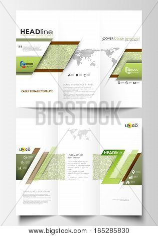 Tri-fold brochure business templates on both sides. Easy editable abstract layout in flat design, vector illustration. Green color background with leaves. Spa concept in linear style. Vector decoration