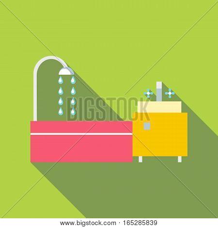 Bathroom icon. Flat illustration of bathroom vector icon for web