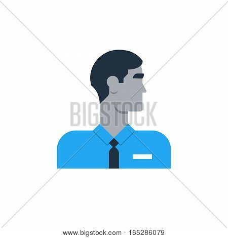 Male character turned head, middle age security man. Flat design vector illustration