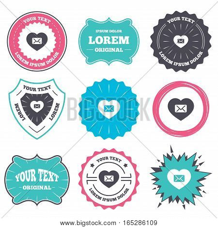 Label and badge templates. Love Mail icon. Envelope symbol. Message sign. Mail navigation button. Retro style banners, emblems. Vector