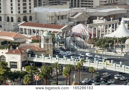 LAS VEGAS, NEVADA - DECEMBER 23, 2016: Caesars Palace Resort and Casino, and Las Vegas Blvd and Flamingo Road intersection