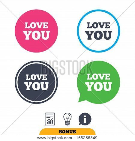 Love you sign icon. Valentines day symbol. Report document, information sign and light bulb icons. Vector