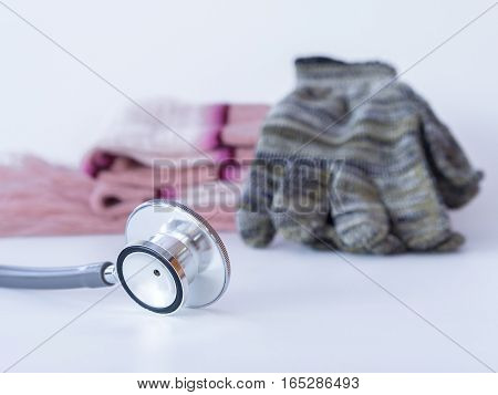 Stethoscope, Glove And Neckwear Winter On White Background. Health Care Winter Concept.