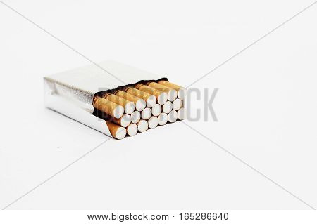 Pack of 20 cigrettes isolated on white background