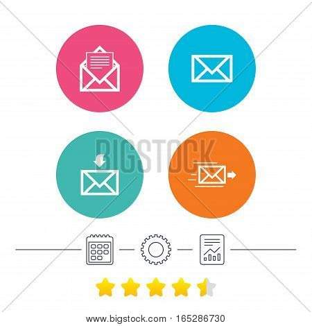 Mail envelope icons. Message document delivery symbol. Post office letter signs. Inbox and outbox message icons. Calendar, cogwheel and report linear icons. Star vote ranking. Vector