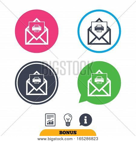 Mail print icon. Envelope symbol. Message sign. Mail navigation button. Report document, information sign and light bulb icons. Vector
