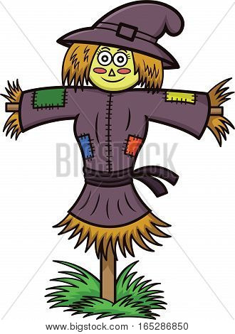 Witch Scarecrow Cartoon Illustration Isolated on White