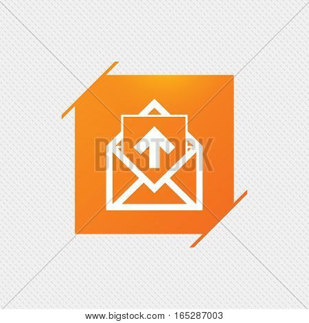 Mail icon. Envelope symbol. Outgoing message sign. Mail navigation button. Orange square label on pattern. Vector