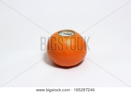 Fresh orange with pop up silver top of a can isolated on white background.
