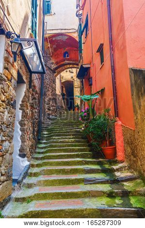 Picturesque Alley In Vernazza, Italy