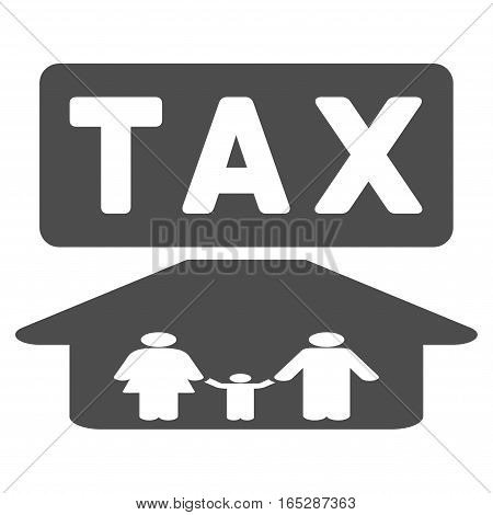 Family Tax Pressure vector icon. Flat gray symbol. Pictogram is isolated on a white background. Designed for web and software interfaces.