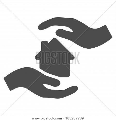 House Care Hands vector icon. Flat gray symbol. Pictogram is isolated on a white background. Designed for web and software interfaces.