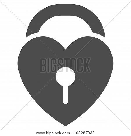 Love Heart Lock vector icon. Flat gray symbol. Pictogram is isolated on a white background. Designed for web and software interfaces.
