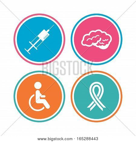 Medicine icons. Syringe, disabled, brain and ribbon signs. Breast cancer awareness symbol. Handicapped invalid. Colored circle buttons. Vector