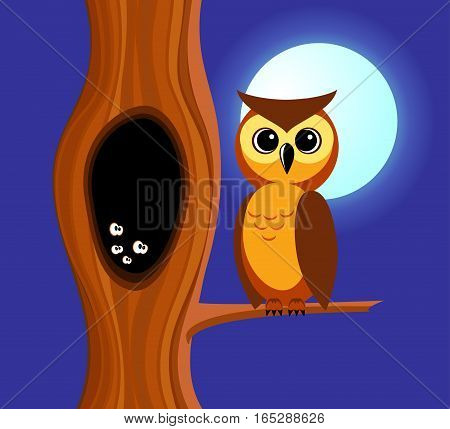 Owl sits on a branch of a tree. In a tree a hollow in which eyes are shone. Night full moon.