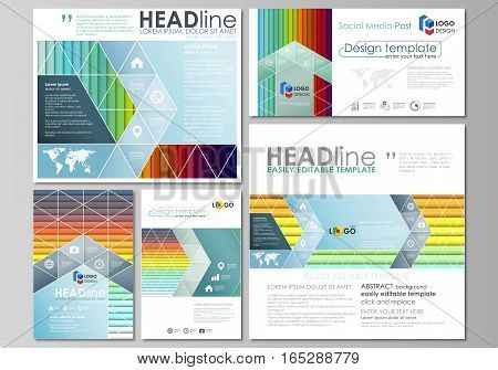 Social media posts set. Business templates. Easy editable abstract flat design template, layouts in popular formats, vector illustration. Bright color rectangles, colorful design with overlapping geometric rectangular shapes forming abstract beautiful bac