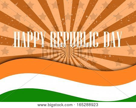 Republic Day India. Celebration Background With Flag Of India And Stripes. Vector Illustration