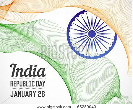 National Republic Day of India Country in Blending Lines Style Vector with Date