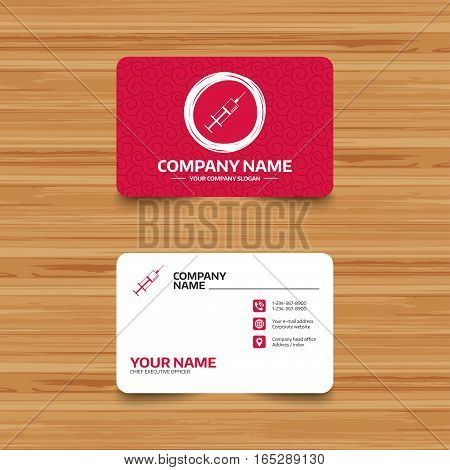 Business card template with texture. Syringe sign icon. Medicine symbol. Phone, web and location icons. Visiting card  Vector