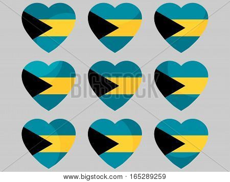 Heart With The Flag Of The Bahamas Icons. I Love The Bahamas. Vector Illustration.