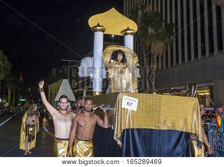 LAS VEGAS - OCT 21 : An unidentified participants at the annual Las Vegas Gay pride night parade on October 21 2016