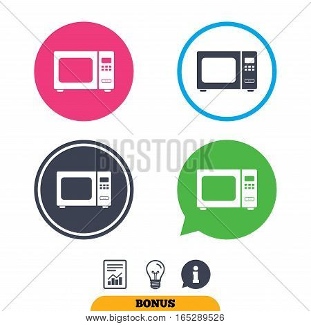 Microwave oven sign icon. Kitchen electric stove symbol. Report document, information sign and light bulb icons. Vector