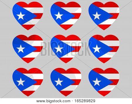 Heart With Puerto Rico Flag. I Love Puerto Rico. Vector Illustration.