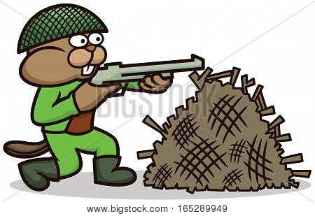 Beaver Soldier Aiming with Rifle While Hiding Behind Dam Cartoon Illustration