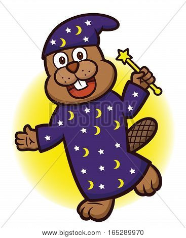 Beaver Wizard with Magic Wand Cartoon Illustration Isolated on White